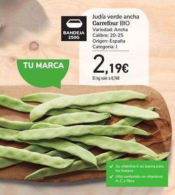 Oferta de Judía verde ancha Carrefour Bio por 2,19€
