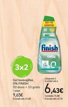 Oferta de Gel lavavajillas 0% Finish 50 dosis + 10 gratis por 9,65€