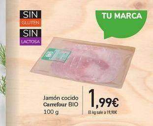 Oferta de Jamón cocido Carrefour Bio por 1,99€