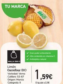 Oferta de Limón Carrefour Bio por 1,59€