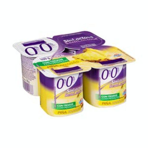 Oferta de Yogur sin lactosa Hacendado con trozos de piña por 1,3€