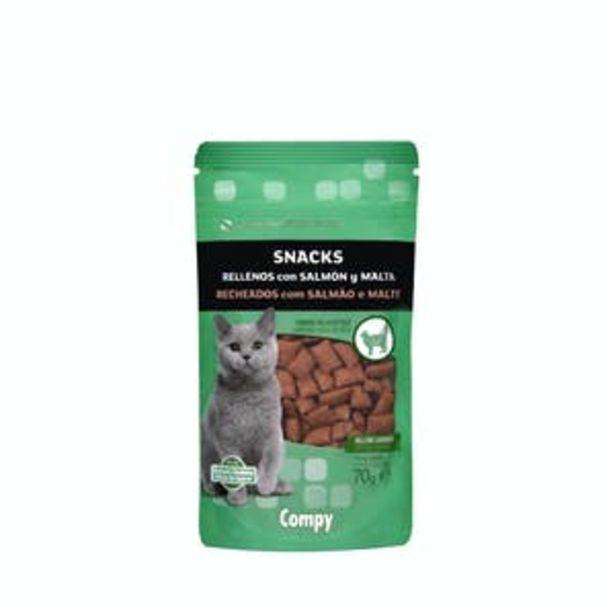 Oferta de Snacks gato rellenos con salmón y malta Compy por 1€