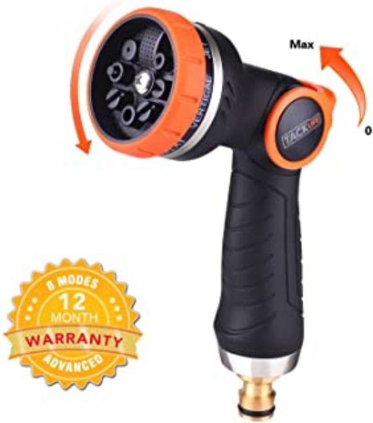 Oferta de TACKLIFE Pistola de riego, Pistola de Jardín con Boquilla Metálica, 8 Modos Diferentes, Nueva Patente de Control con una S... por 4,97€