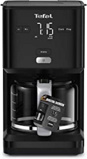 Oferta de Tefal Smart N Light CM6008 Cafetera Filtro capacidad de 1.25 l, cabezal de extracción extragrande, programable 24 h, funci... por 59€