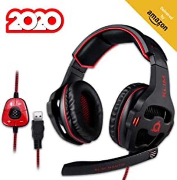 Oferta de KLIM™ Mantis - Cascos Gaming con micrófono - Auriculares USB para PC, PS4, Nintendo Switch, Mac + Sonido Envolvente 7.1 con cancelación de Ruido pasiva + NUEVOS 2020 por 42,47€