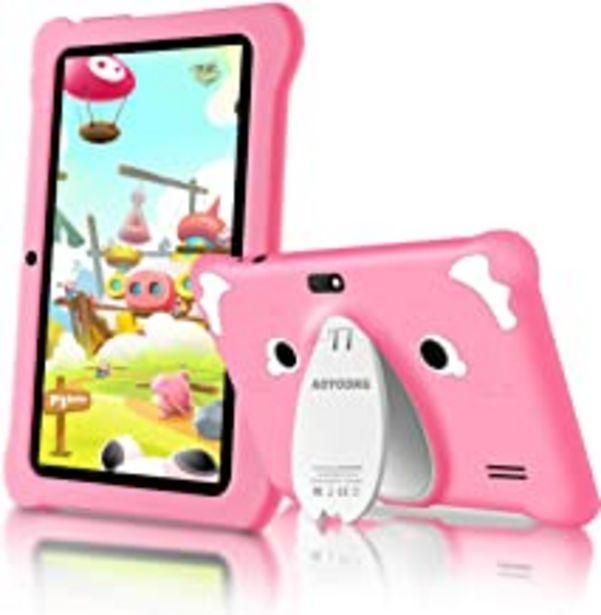 Oferta de Tablet para Niños Android 9.0 (Certificación Google GMS) 3GB RAM+32GB ROM/128GB 7.1 Pulgadas HD 5.0MP Cámara Quad Core Tablet Infantil de Kid-Proof Funda Tablet Niños Educativo (Rosado) por 69,99€