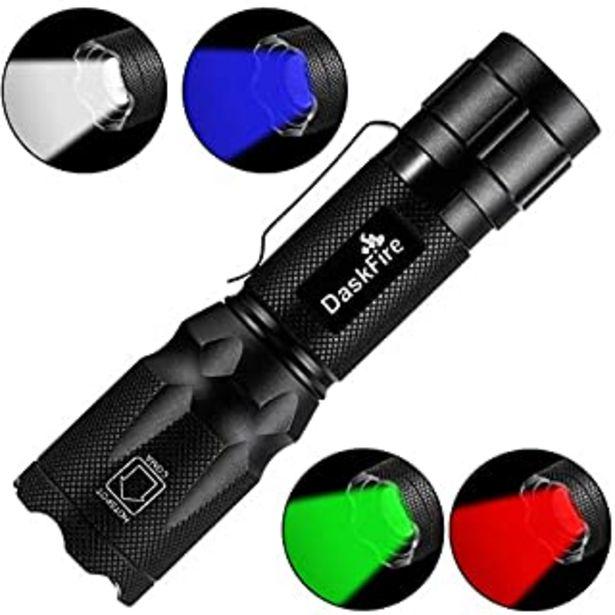 Oferta de 4 en 1 antorcha LED Super brillante 900 lúmenes. Luz rojo y verde, luz azul suave, luz multifuncional. Linterna de mano aj... por 15,99€