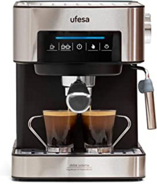 Oferta de Ufesa CE7255 Cafetera Expresso y Capuccino con Panel Táctil Digital, Vaporizador Orientable, 20, 2 Modos: café Molido o Monodosis, Filtros Bar Cream, Función Calienta Tazas, 850 W, 2 Cups, Negro por 125,35€