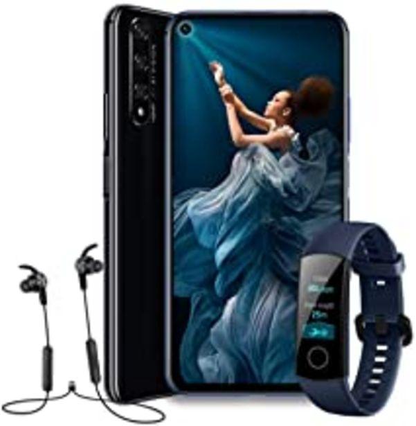 """Oferta de HONOR 20  - Smartphone Android 9 (6,26"""" FHD, 48MP + 16MP + 2MP + 2MP, frontal 32MP, 6 GB de RAM, 128 GB memoria, batería 3750 mAh), color Negro + Honor Band 4 + Honor Sport Bluetooth Earphones por 499€"""