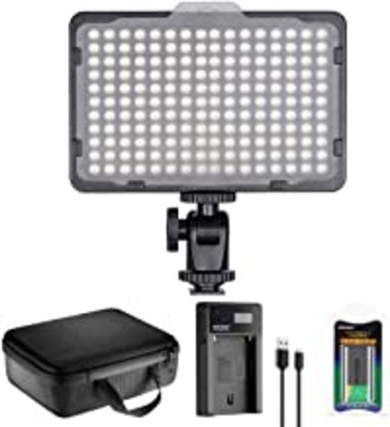 Oferta de Neewer 176 LED Luz de Video Iluminación Kit: 176 Panel LED Regulable, con Batería de Li-ion 2200mAh, Cargador de Batería USB y Estuche para Fotografía de Producto y Retrato por 37,99€