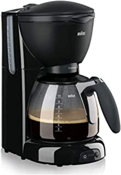 Oferta de Braun KF 560 Cafetera eléctrica con Sistema OptiBrew, 1100 W, 35 dB, acero inoxidable, 10 tazas, negro por 57,84€