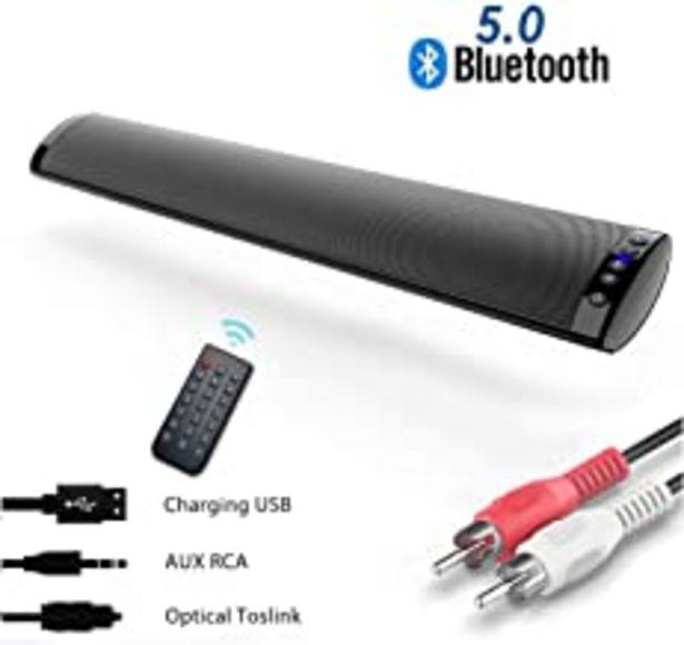 Oferta de Barras de Sonido para TV, Bluetooth 5.0 Sonido Envolvente Altavoz para TV/Home Cinema, Apoyo RCA/AUX/Óptico/USB/TF Tarjeta, Compatible para TV, Moviles, Tableta,Montable en la Pared por 49,99€