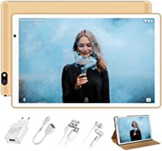 Oferta de Tablet 10 Pulgadas FACETEL Q3 Android 9.0 4GB RAM+64GB ROM,Tablet PC 5.0+8.0 MP HD la Cámara ,Certificación Google gsm,1280*800 Full HD Display,Bluetooth,WiFi,GPS,FM-Oro por 108,99€