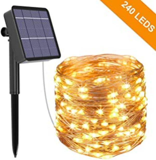 Oferta de Guirnalda Luces Exterior Solar, Kolpop Cadena de Luces 26 Metros 240 LED, 8 Modos de Luz, Decoración para Navidad, Fiestas... por 15,99€