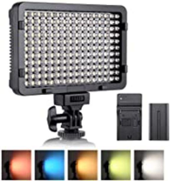 Oferta de Luz de video LED, ESDDI 176 LED Ultra Brillante Regulable CRI 95+ Luz de Cámara con Juego de Baterías NP-F550 y 5 Filtros de Color para Iluminación Colorida, Fotografía de Retratos, Video y Youtube por 36,99€
