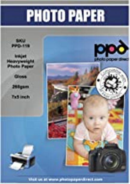 """Oferta de PPD Papel fotográfico brillante para impresión de inyección de tinta (secado Instantáneo) 13x18 cm (7x5"""") 260 g/m² X 100 hojas PPD119-100 por 8€"""