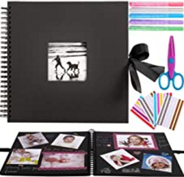 Oferta de Inicia 30x30 cm Kit Álbum de Fotos Scrapbook Recortes para Pegar con 5 Bolígrafos Metálicos, Tijeras y 216 Esquineras para Fotografías, Ideal para Regalar o para Uso Propio,60 Páginas. por 16,99€