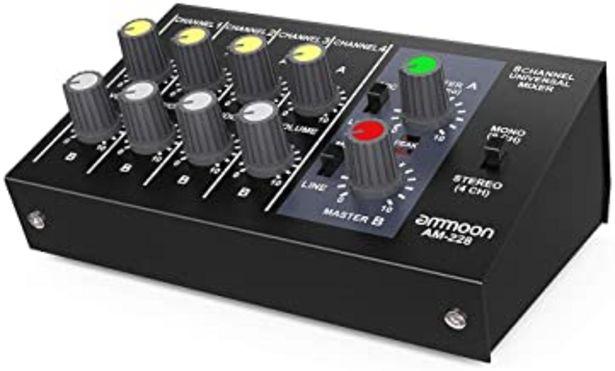 Oferta de Ammoon Mezclador de Sonido Ultra Compacto Ruido Bajo 8 Canales Metal Mono Estéreo Audio con Cable de Adaptador de Corriente por 35,49€