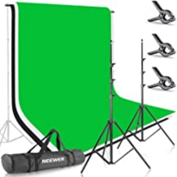 Oferta de Neewer 10086005, 2.6M X 3M Soportes de Fondo con 1.8M X 2.8M Fondo(Blanco,Negro,Verde) para Fotografía y Vídeo por 62,99€