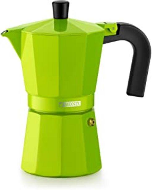 Oferta de Monix Lima Cafetera Italiana, Capacidad 3 Tazas, Aluminio, Verde, 9 cm por 10,51€