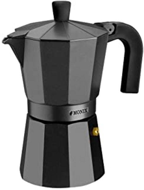 Oferta de Monix Vitro Noir – Cafetera Italiana de Aluminio, Capacidad 12 Tazas, Apta para Todo Tipo de cocinas Salvo inducción por 18,99€