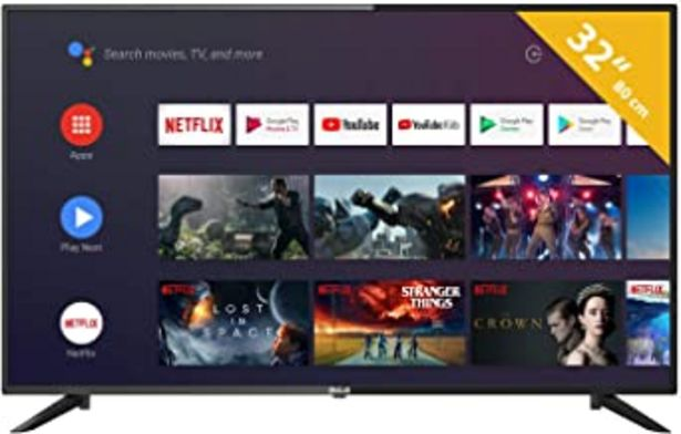 Oferta de RCA RS32H2 Android TV (32 Pulgadas HD Smart TV con Google Assistant), Chromecast Incorporado, HDMI+USB, Triple Tuner, 60Hz por 169,99€