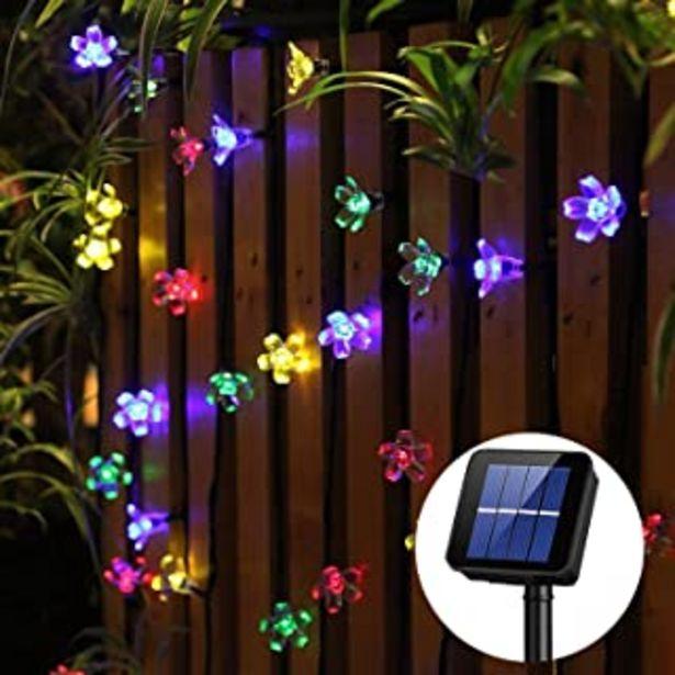 Oferta de Guirnalda luces exterior solar Panpany luces decorativas exterior 22 pies lucessolaresexterior 50 led de luz impermeable... por 9,99€