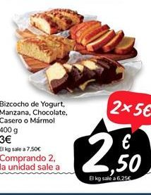 Oferta de Bizcocho de Yogurt, Manzana, Chocolate, Casero o mármol  por 3€