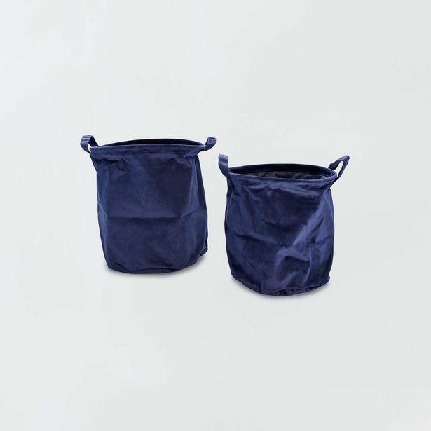 Oferta de 2 cestas redondas de terciopelo por 4€
