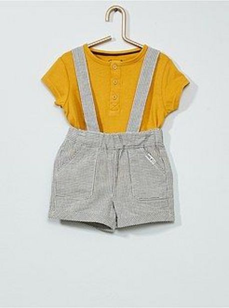 Oferta de Conjunto de camiseta + pantalón corto con tirantes por 8€