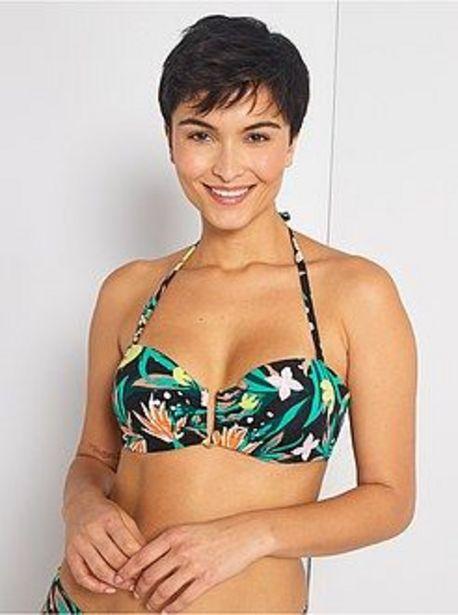 Oferta de Sujetador de bikini tipo bandeau con copas por 7€