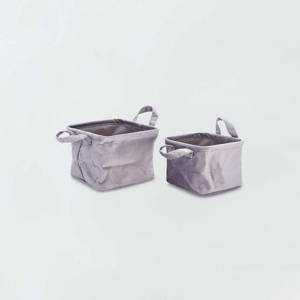 Oferta de 2 cestas cuadradas de terciopelo por 7€