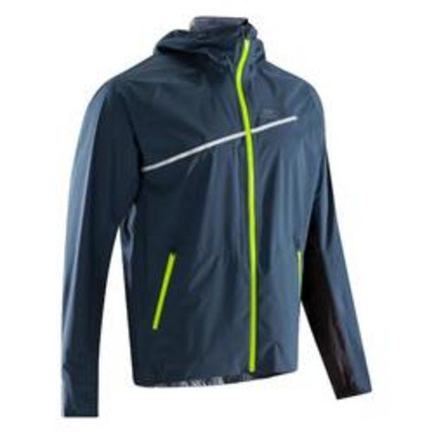Oferta de Chaqueta Impermeable Running Kalenji Trail Hombre Gris/Azul Cremallera Capucha por 44,99€