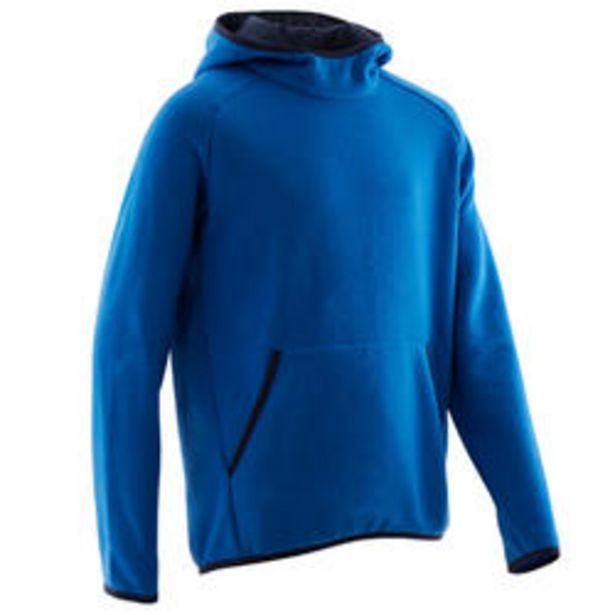 Oferta de Sudadera con capucha cálida 100 niño GIMNASIA INFANTIL azul liso por 5,99€