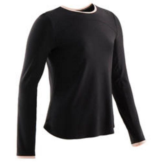 Oferta de Camiseta manga larga algodón transp 500 niña GIMNASIA INFANTIL negro toque rosa por 6,99€