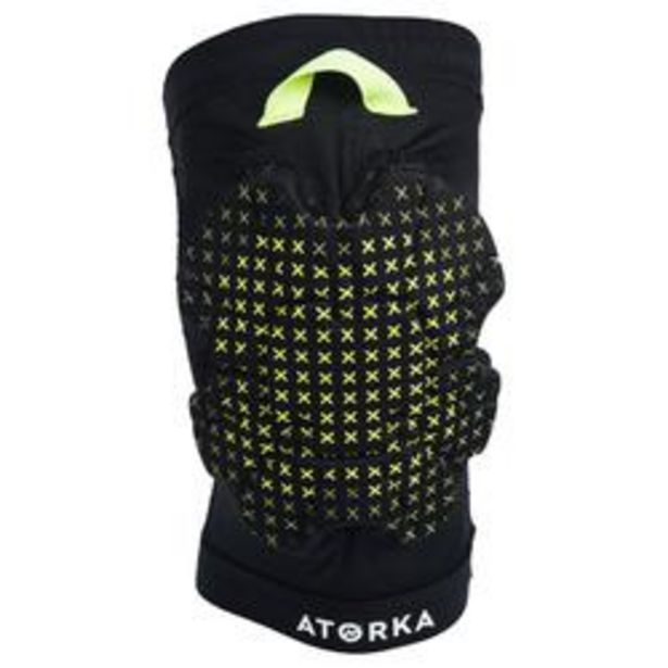 Oferta de Rodillera de Balonmano Atorka H500 Negro Amarillo por 7,99€