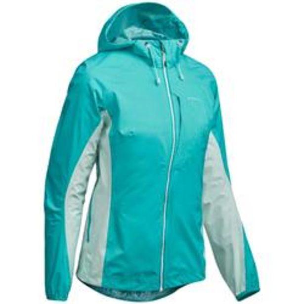 Oferta de Chaqueta impermeable de senderismo rápido Mujer FH500 Helium Rain Azul caribe por 49,99€