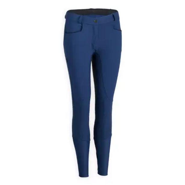 Oferta de Pantalón Equitación Fouganza 580 LIGHT FULLGRIP Mujer Azul Turquí por 47,99€