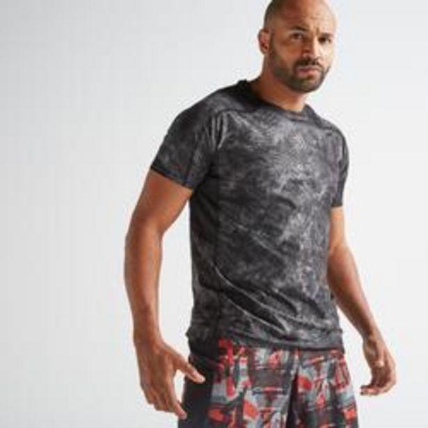 Oferta de Camiseta manga corta Fitness Cardio Domyos FTS 500 hombre negro estampado por 10,99€