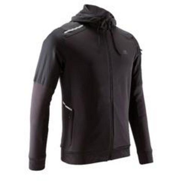 Oferta de Chaqueta Running Kalenji Run Warm+ Hombre Negro Cremallera Capucha por 17,99€