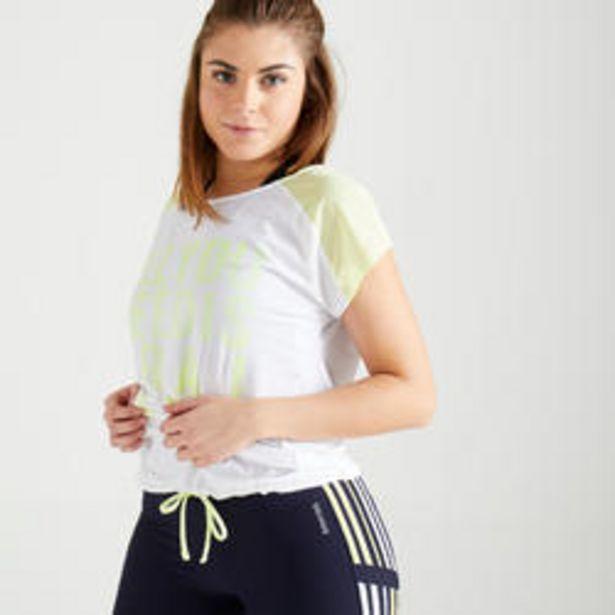 Oferta de Camiseta fitness cardio training mujer blanco y amarillo estampado 120 por 5,49€