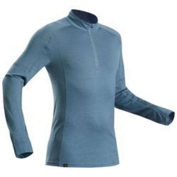Oferta de Camiseta lana merina manga larga trekking montaña -TREK 500 CREMALL. azul hombre por 29,99€