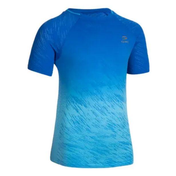 Oferta de Camiseta Manga Corta Running/Atletismo AT 500 Niños Azul Degradé por 9,99€