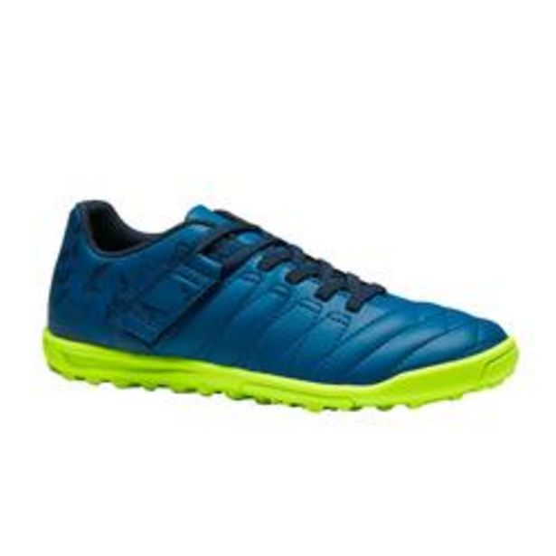 Oferta de Botas de Fútbol Kipsta Agility 140 HG Turf tira autoadher. niños azul marino por 12,99€