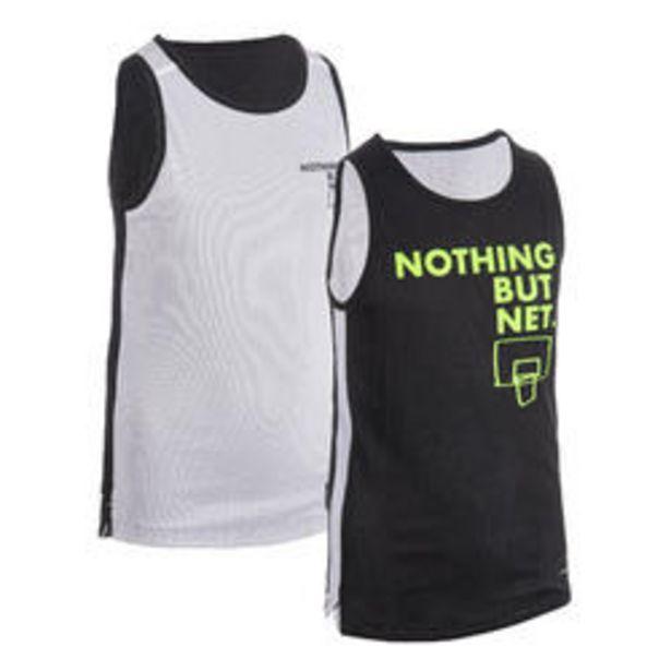 Oferta de Camiseta Baloncesto Tarmak T500 reversible niños negro blanco por 7,99€