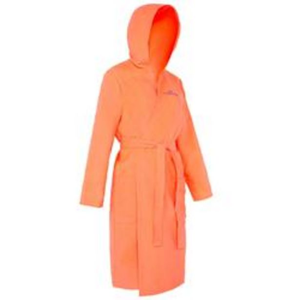 Oferta de Albornoz mujer microfibra granadina con capucha, bolsillos y cinturón por 12,99€