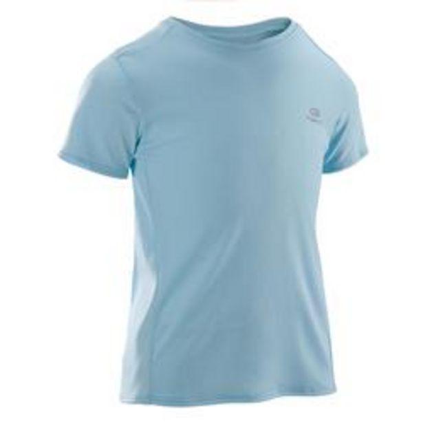 Oferta de Camiseta Manga Corta Deportiva Running Kalenji Run Dry Niños Azul Cielo por 1,99€