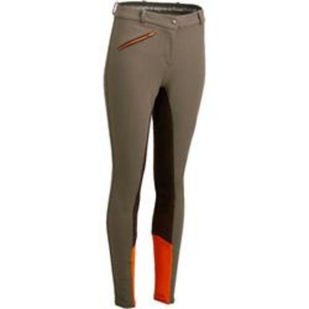 Oferta de Pantalón badana equitación mujer BR180 fullseat marrón y naranja por 24,99€