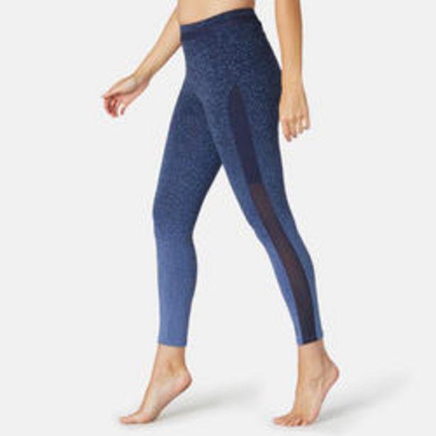 Oferta de Mallas leggings mujer 7/8 Domyos 520 vientre plano azul estampado por 14,99€