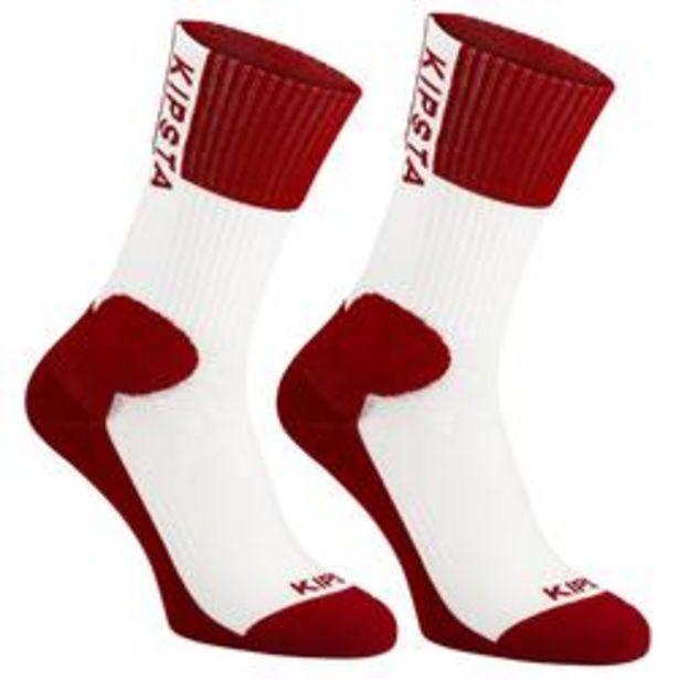 Oferta de Calcetines de Voleibol Allsix Mid V500 adulto blanco y rojo por 0,99€